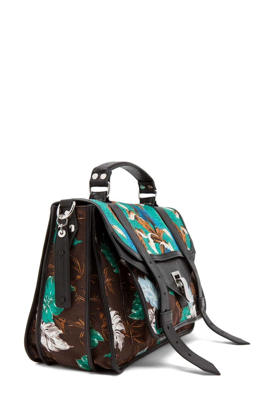 Image 3 of Proenza Schouler PS1 Medium Printed Floral Canvas in Sea Green