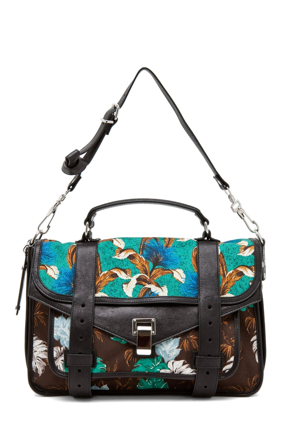 Image 5 of Proenza Schouler PS1 Medium Printed Floral Canvas in Sea Green