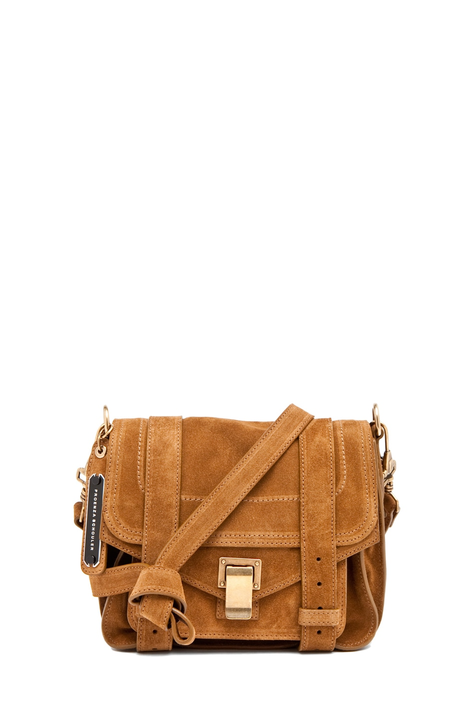 Image 1 of Proenza Schouler PS1 Pouch Suede  in Tobacco