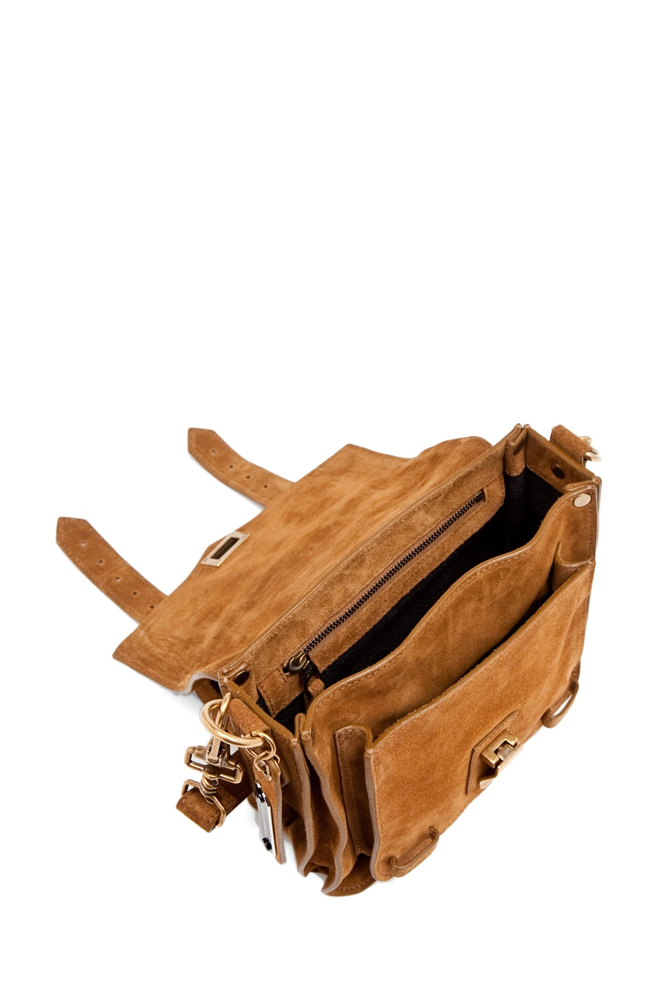 Image 4 of Proenza Schouler PS1 Pouch Suede  in Tobacco