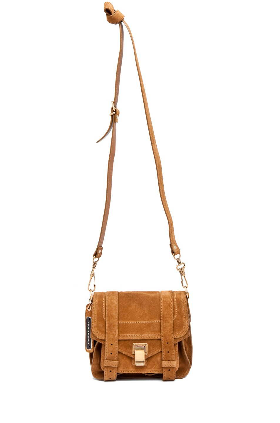 Image 5 of Proenza Schouler PS1 Pouch Suede  in Tobacco
