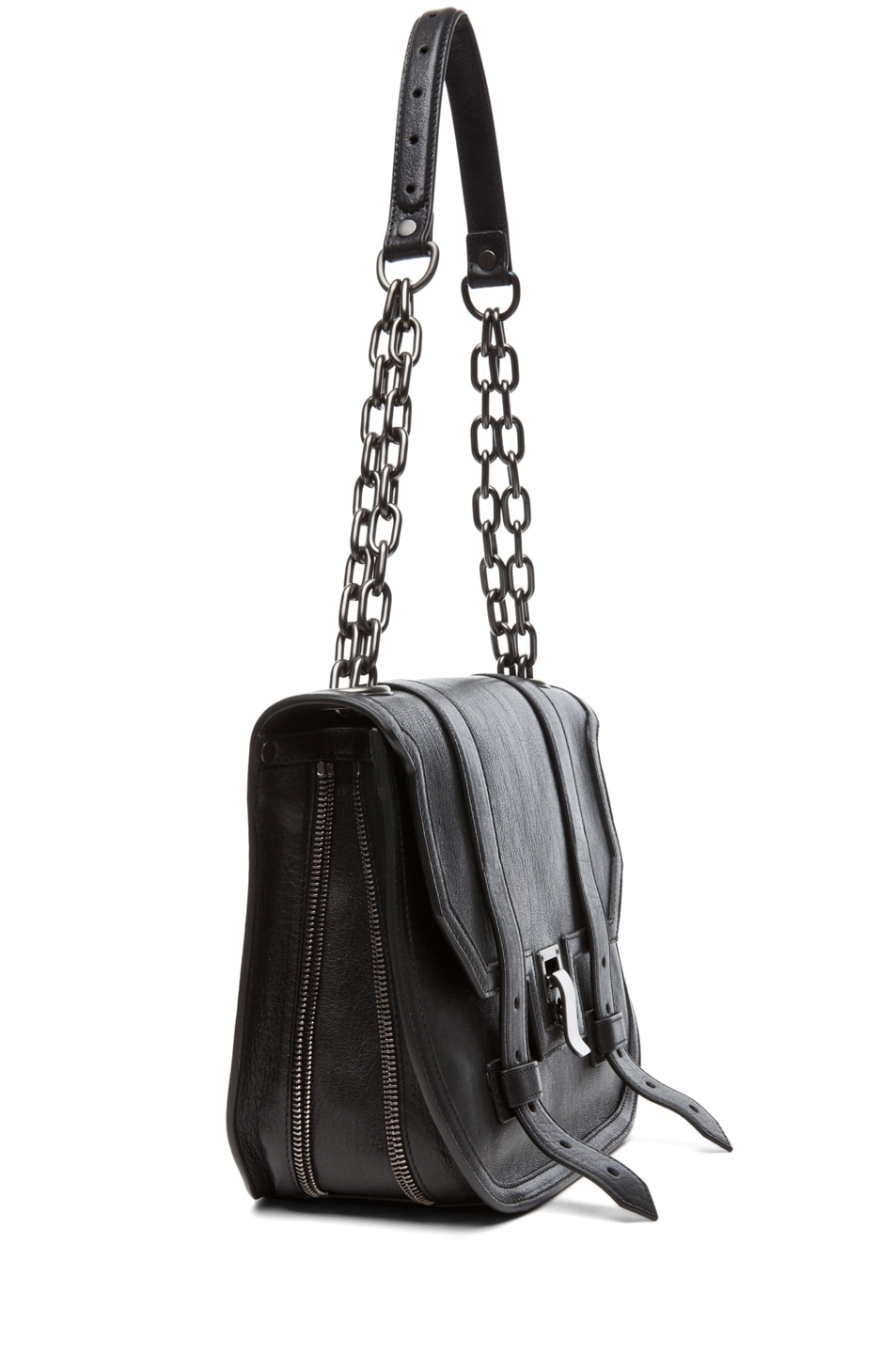 Image 3 of Proenza Schouler PS1 Mini Messenger Leather in Black