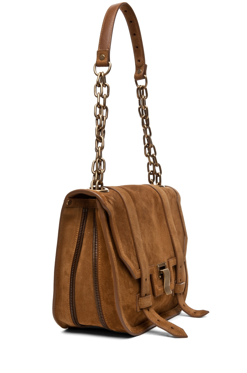Image 3 of Proenza Schouler PS1 Mini Messenger Suede in Tobacco