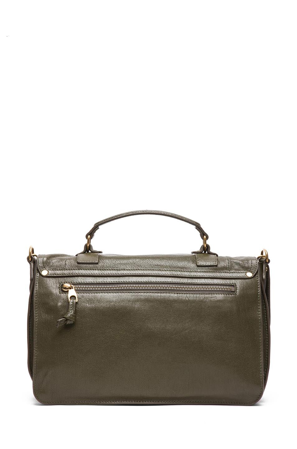 Image 2 of Proenza Schouler Medium PS1 Leather Satchel in Military