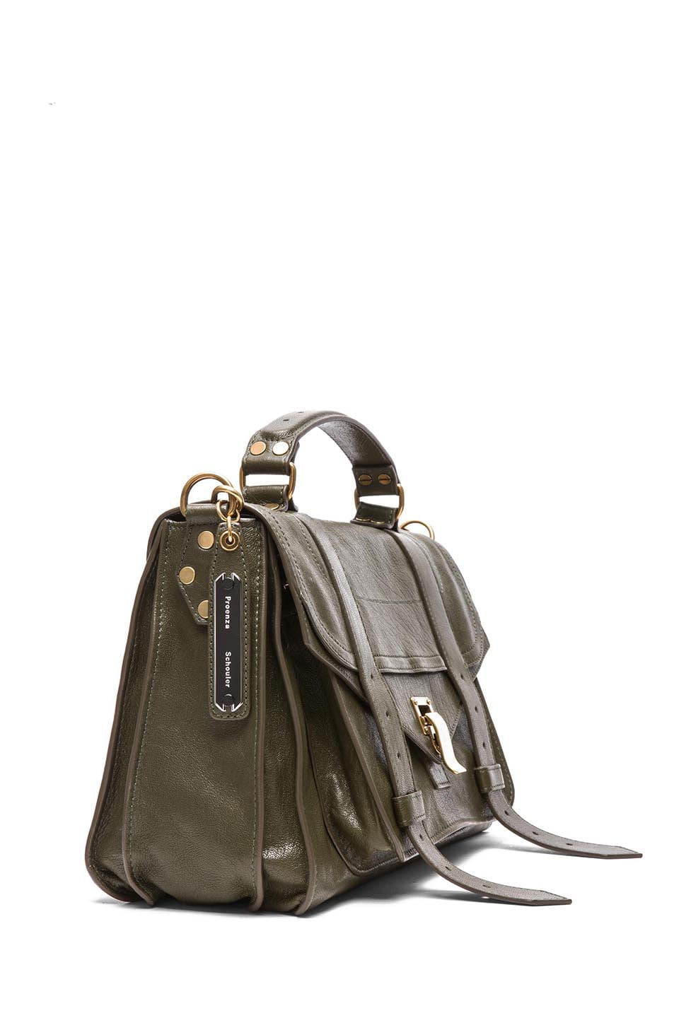 Image 3 of Proenza Schouler Medium PS1 Leather Satchel in Military