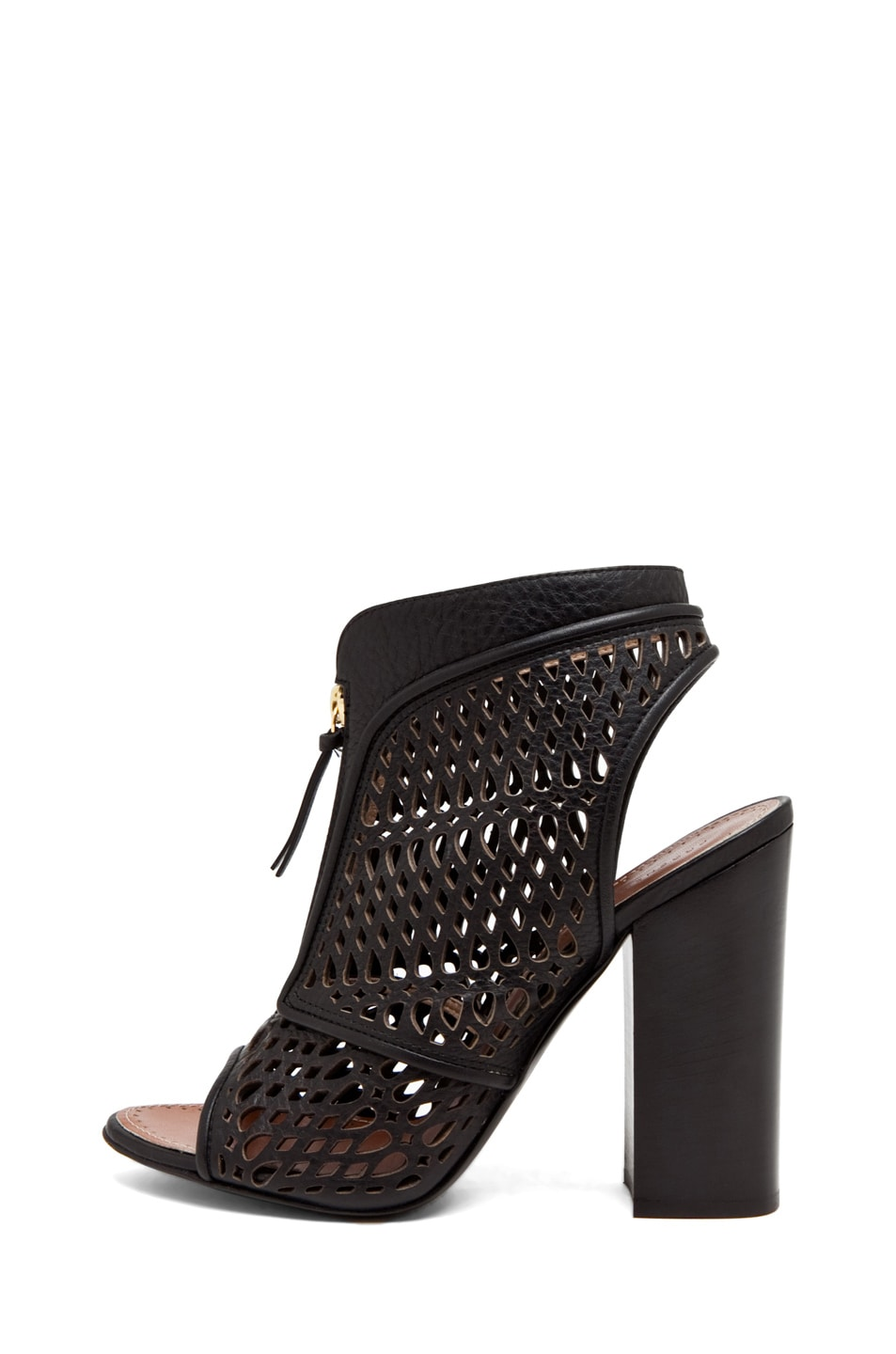 Image 1 of Proenza Schouler Zip Front Laser Cut Bootie in Black