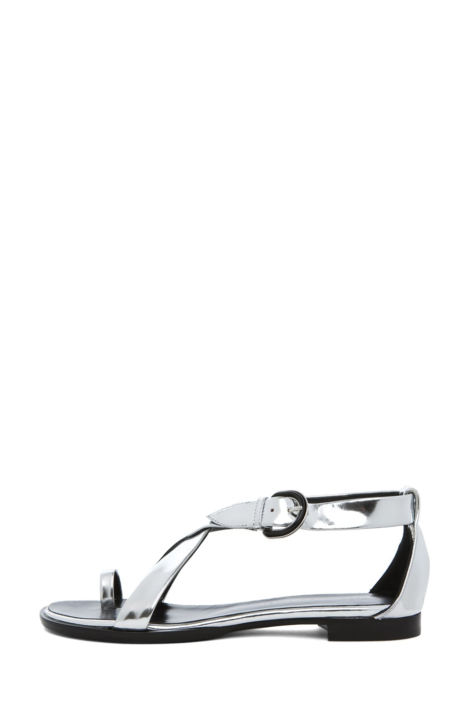 Image 1 of Proenza Schouler Sam Mirror Cross Strap Sandal in Mirror Silver