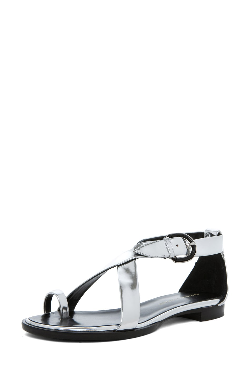 Image 2 of Proenza Schouler Sam Mirror Cross Strap Sandal in Mirror Silver