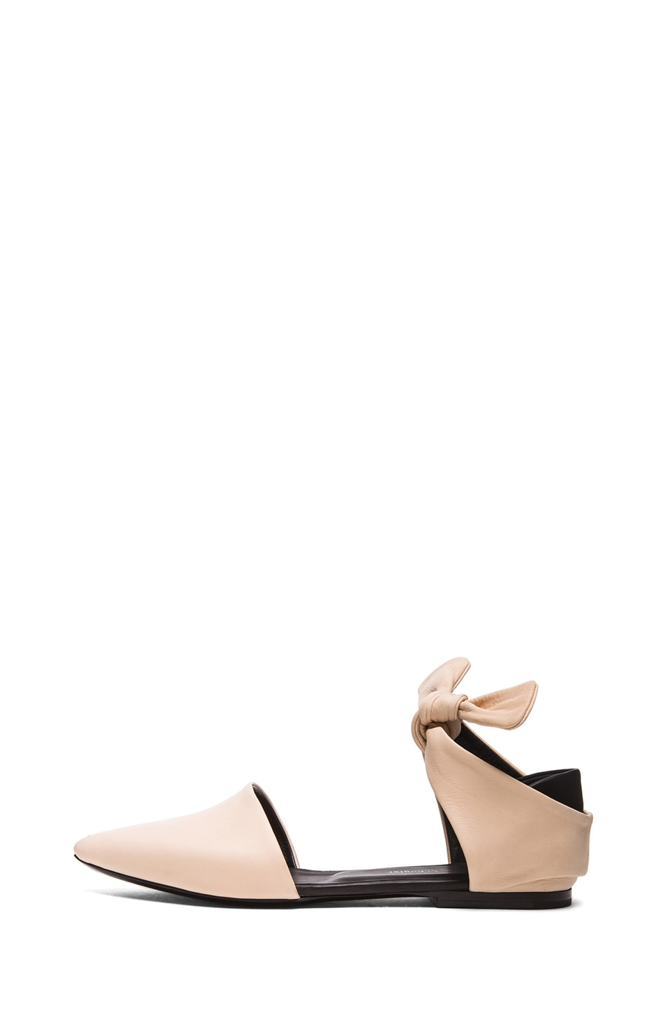 Image 1 of Proenza Schouler Leather Pointy Tie Around Flats in Nude & Black