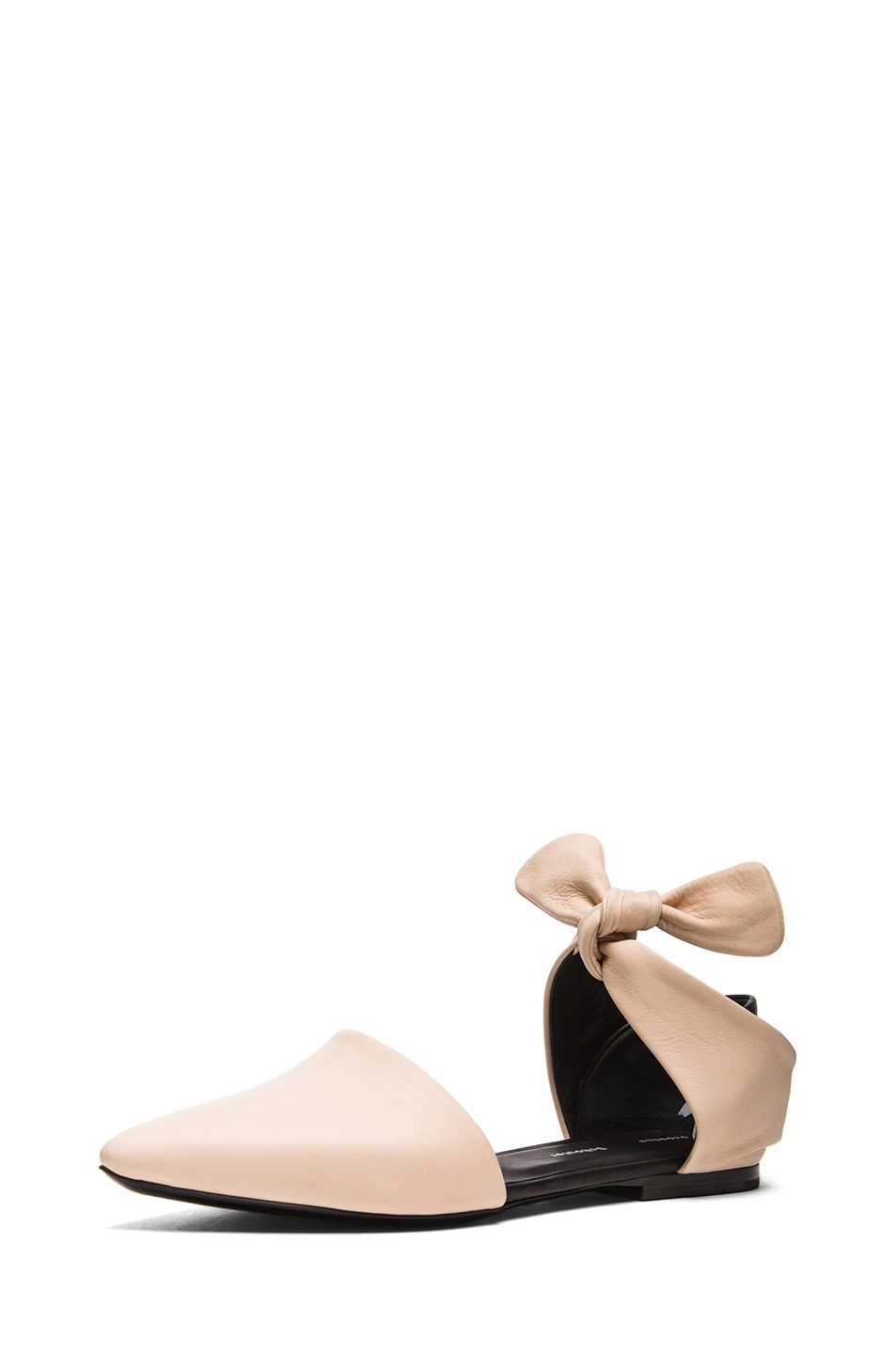 Image 2 of Proenza Schouler Leather Pointy Tie Around Flats in Nude & Black