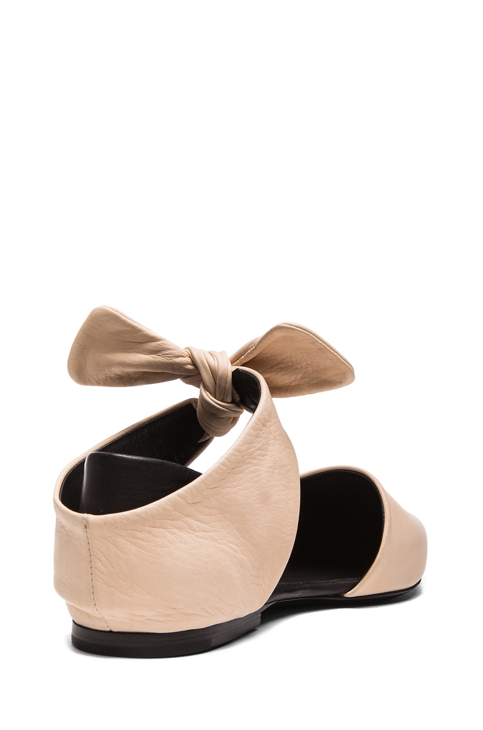 Image 3 of Proenza Schouler Leather Pointy Tie Around Flats in Nude & Black