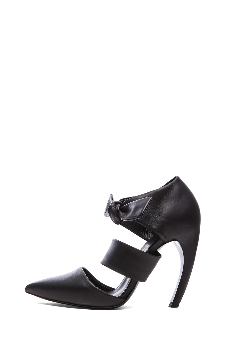 Image 1 of Proenza Schouler Leather Pointy Tie Around Heels in Black