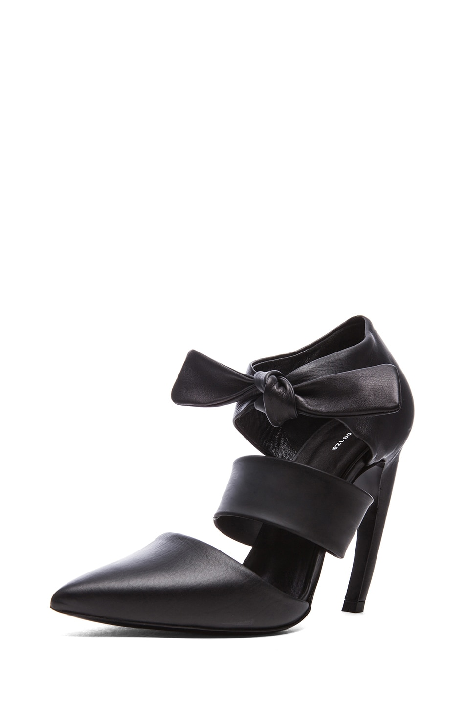 Image 2 of Proenza Schouler Leather Pointy Tie Around Heels in Black