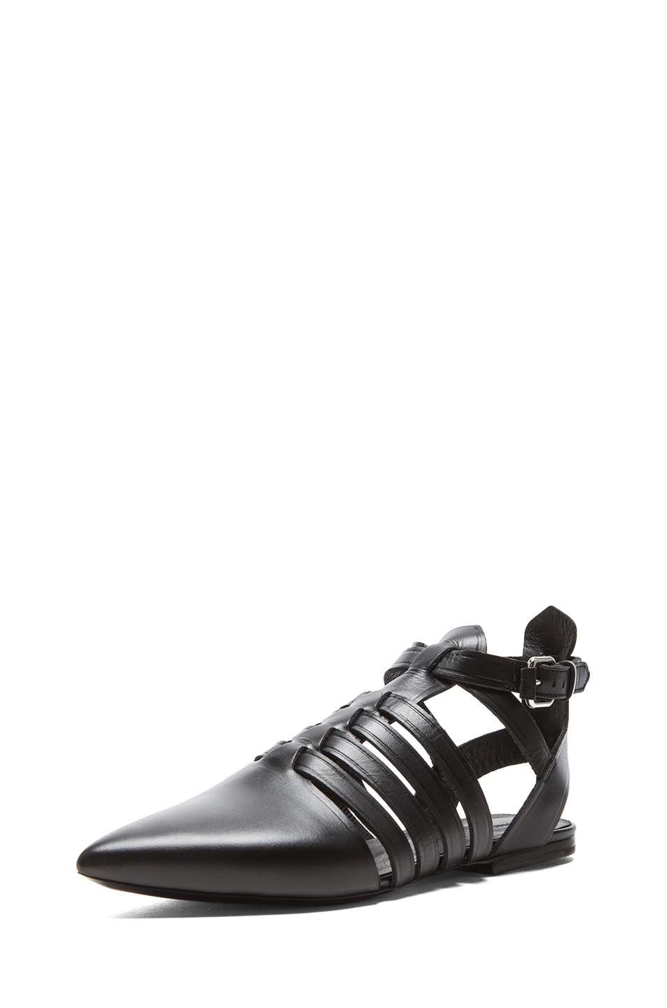 Image 2 of Proenza Schouler Pointed Toe Leather Flats in Black
