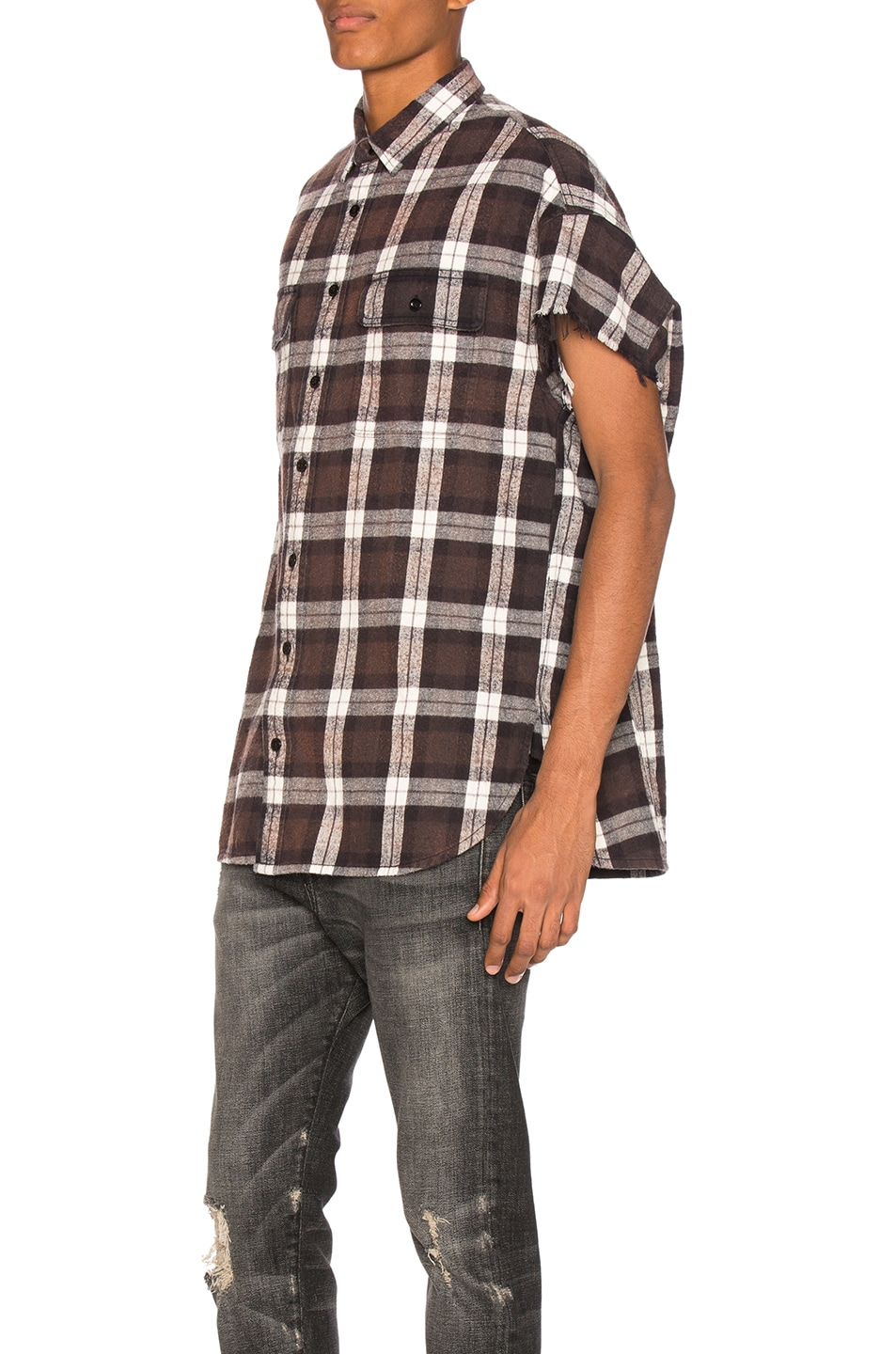 R13 brown oversized cut off shirt in black plaid modesens for Brown and black plaid shirt