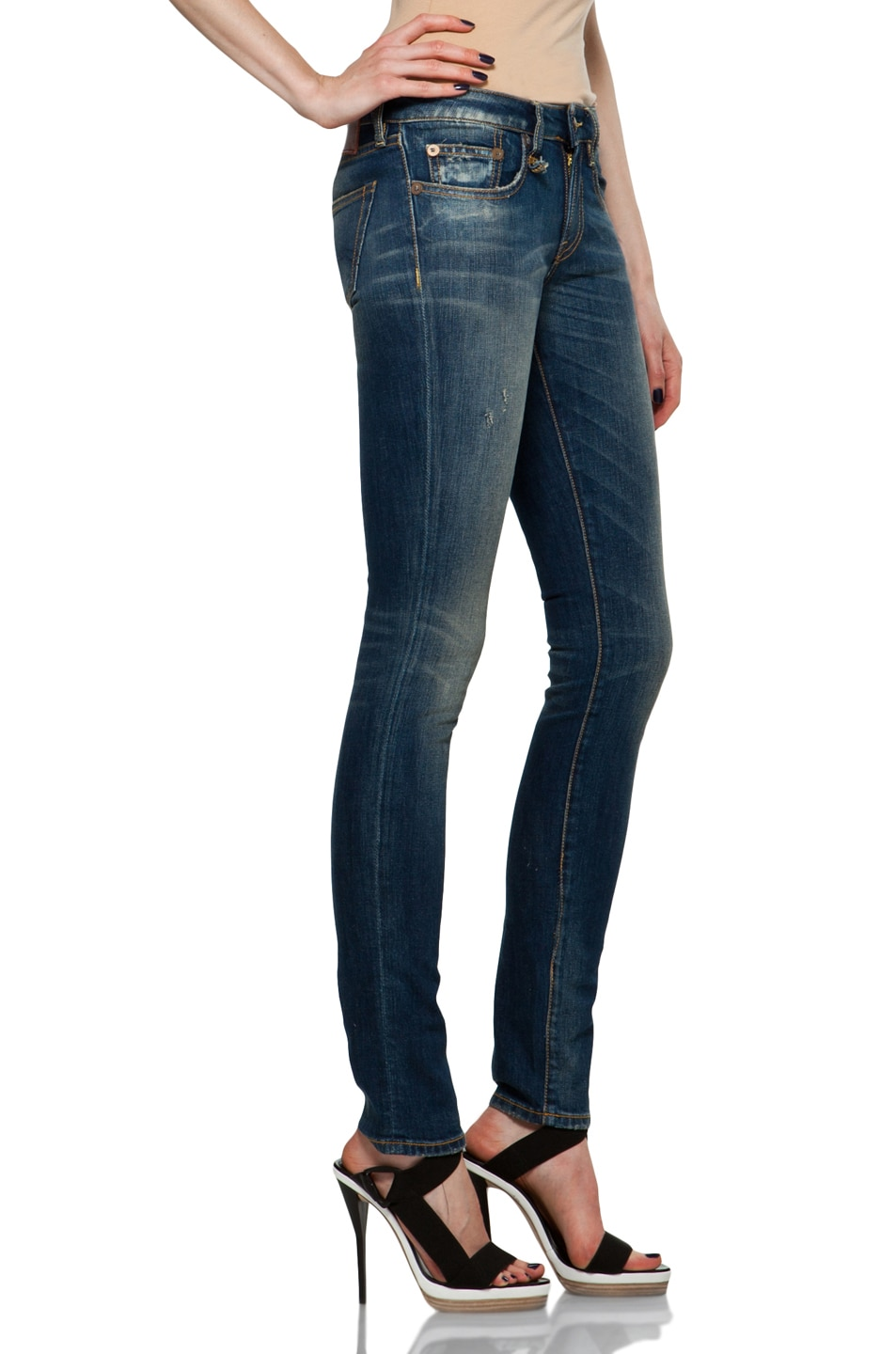 Image 3 of R13 Skinny in Medium Blue