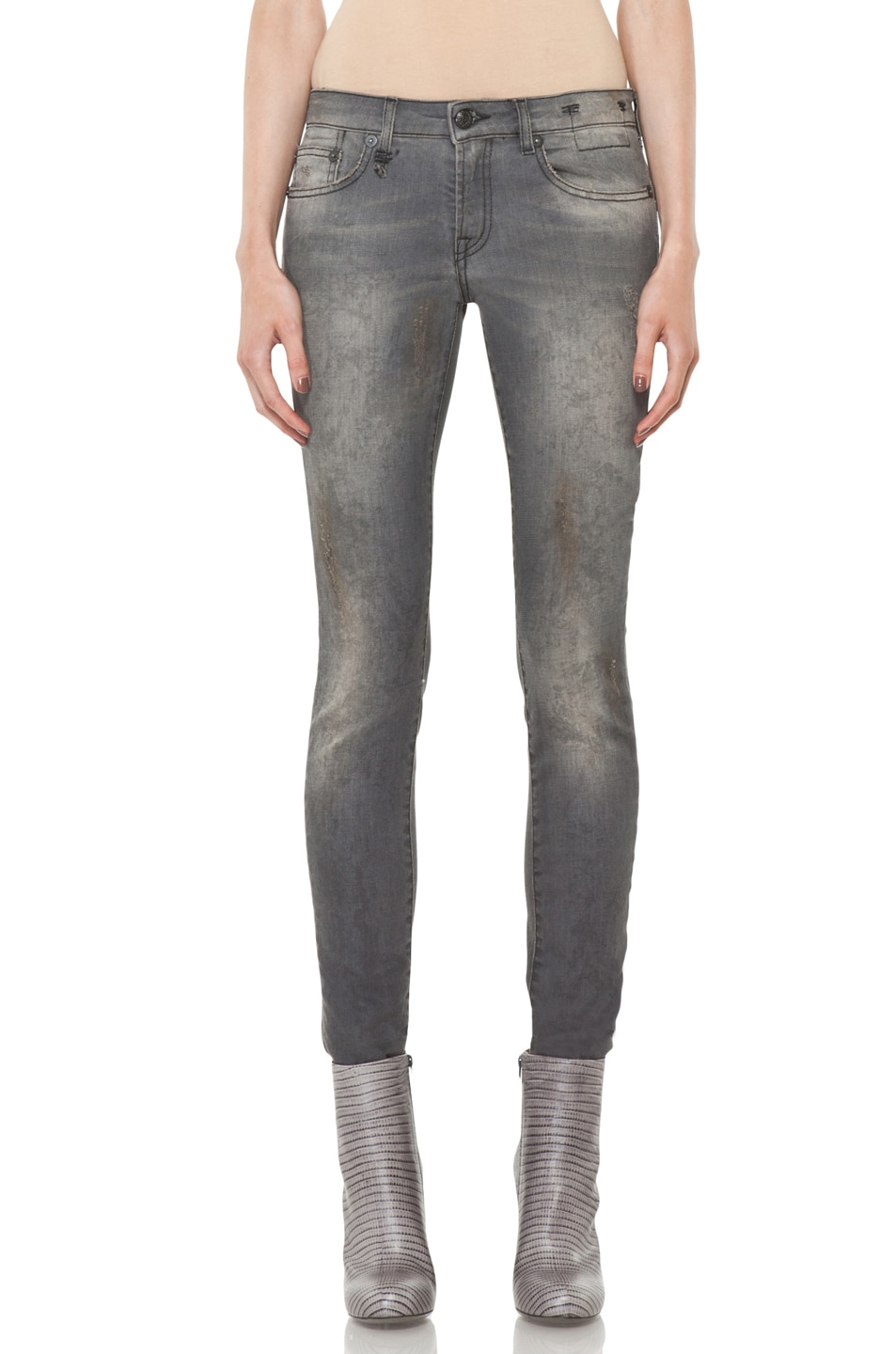 Image 1 of R13 Skinny Jean in Dirty Grey