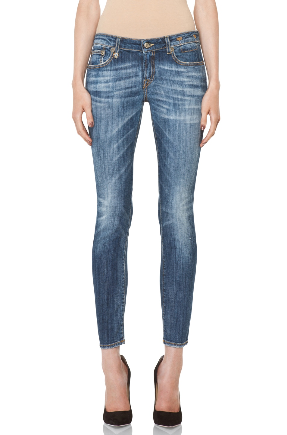 Image 1 of R13 Low Skinny Cropped Jean in Faded Blue