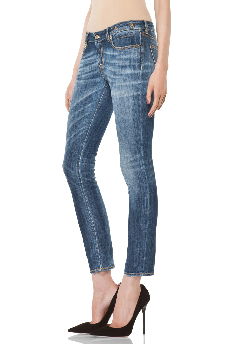 Image 2 of R13 Low Skinny Cropped Jean in Faded Blue
