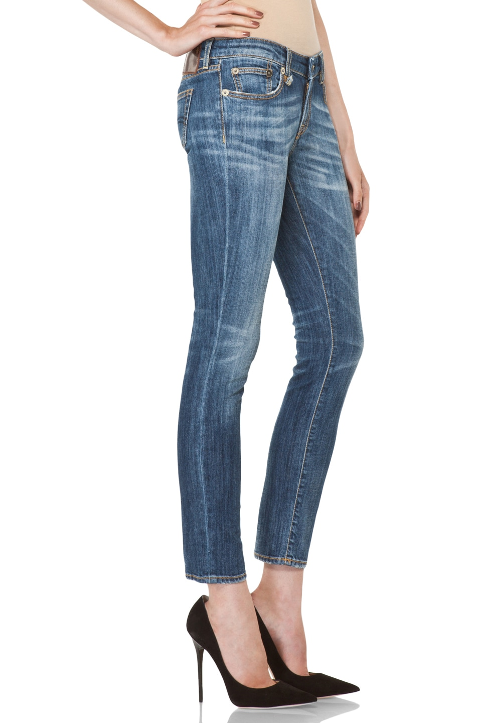 Image 3 of R13 Low Skinny Cropped Jean in Faded Blue