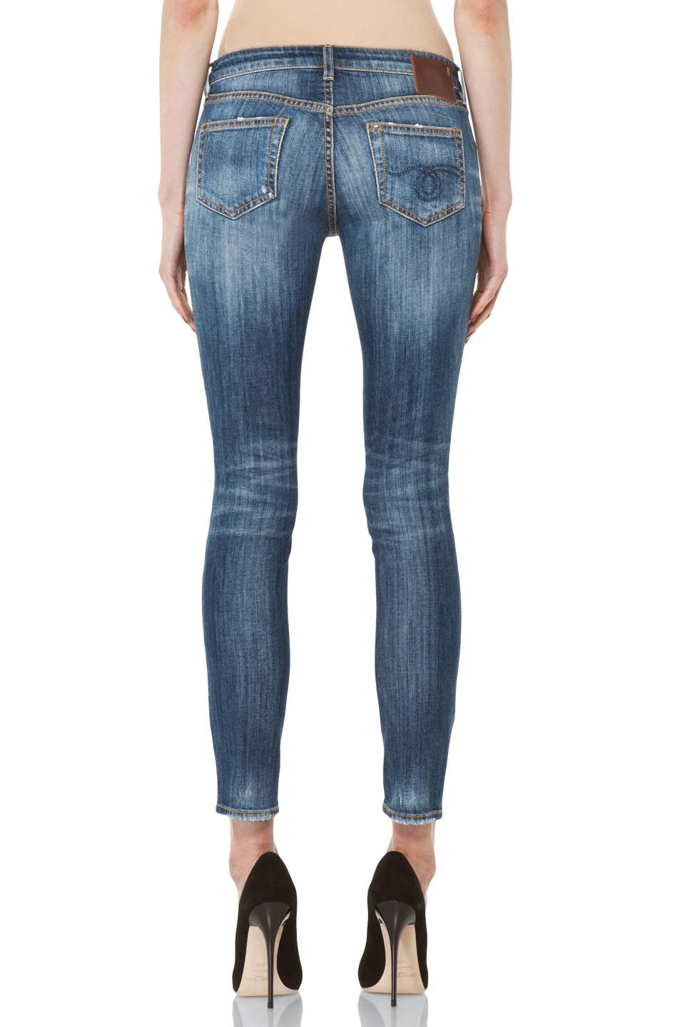 Image 4 of R13 Low Skinny Cropped Jean in Faded Blue