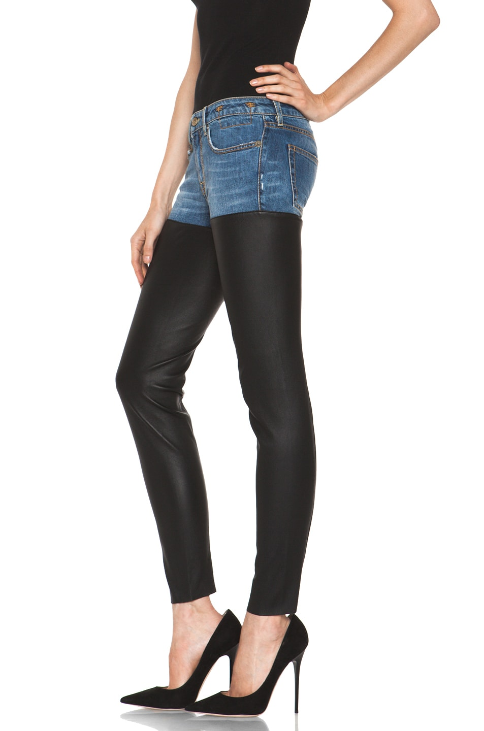 Image 2 of R13 Leather Chaps Jean in Clean Light