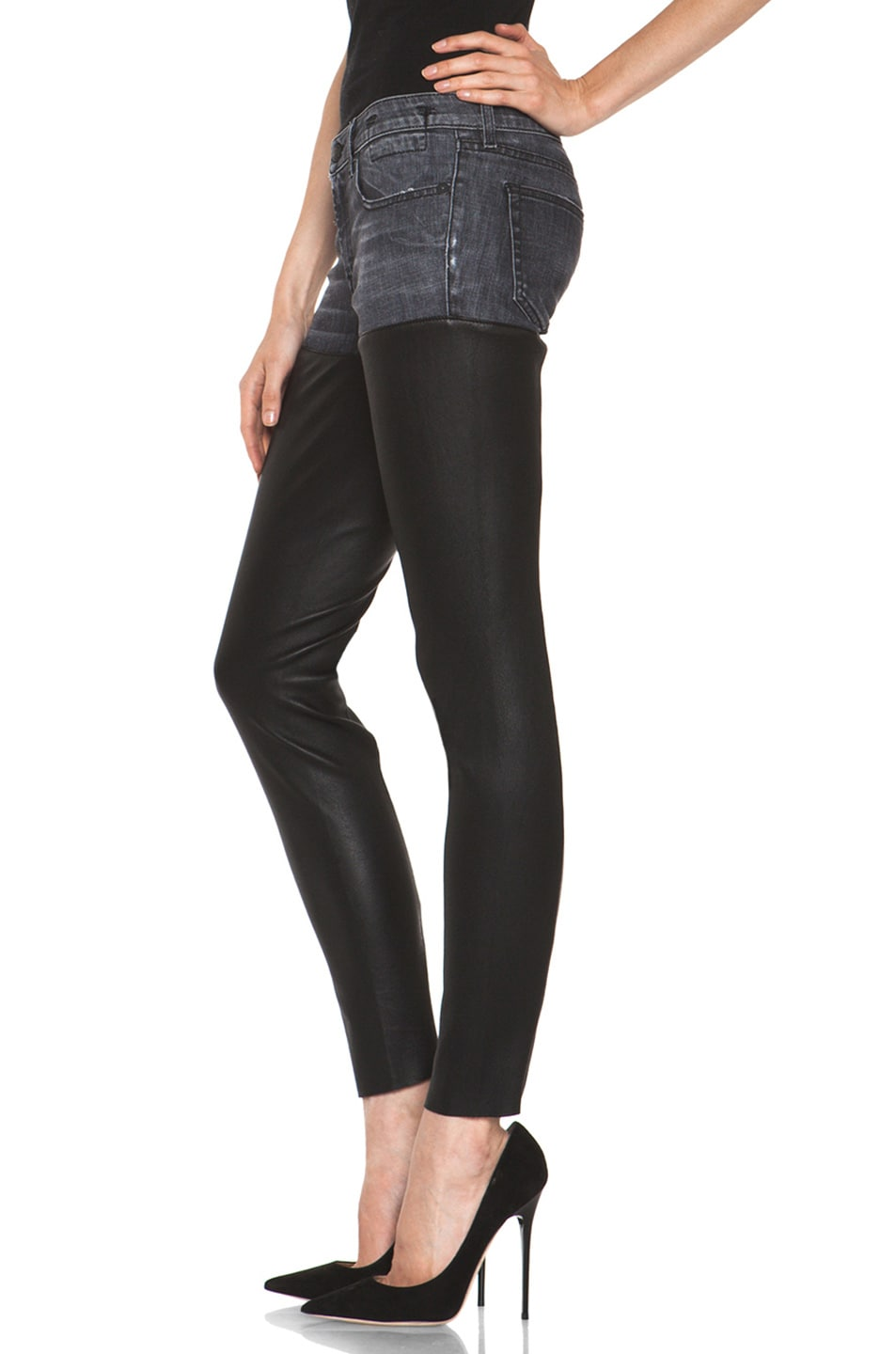 Image 2 of R13 Leather Chaps Jean in Cross Hatch Black