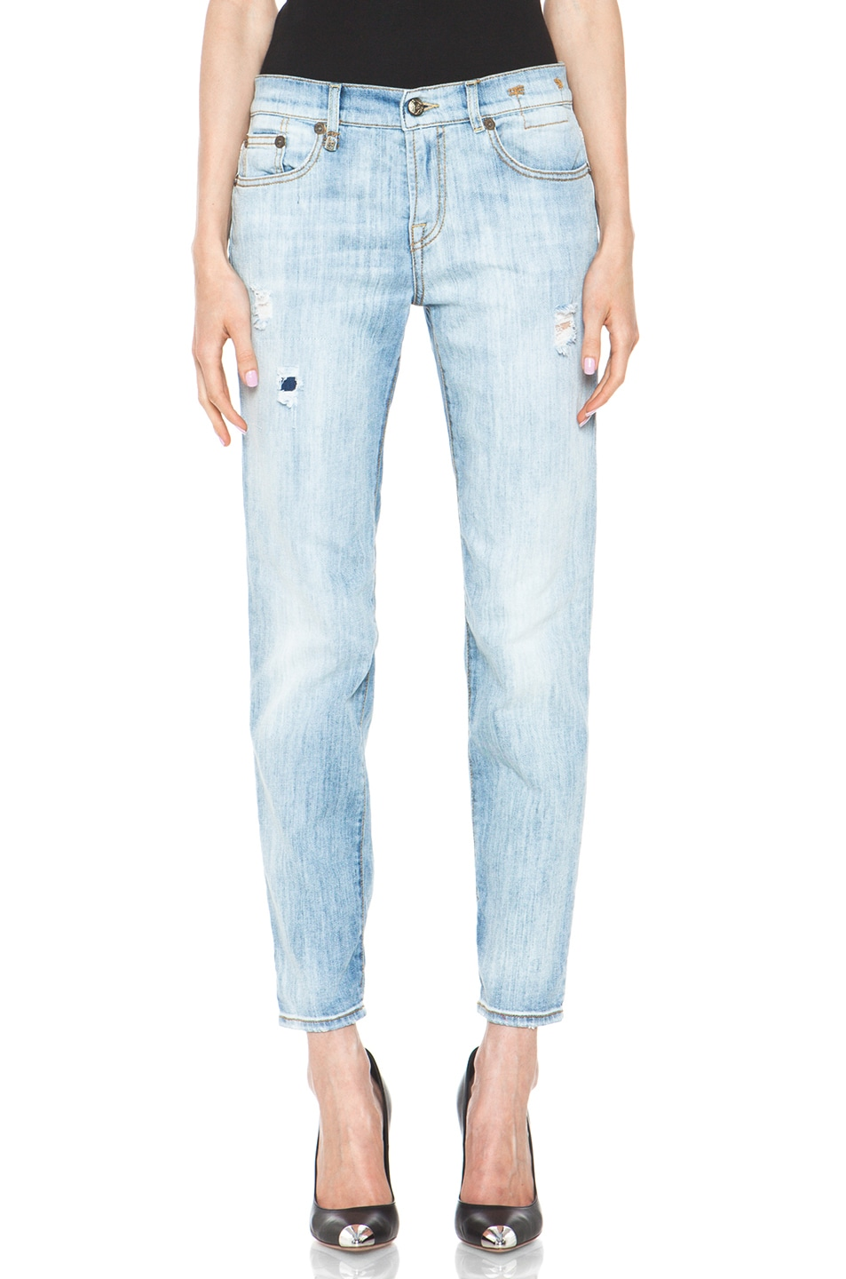 Image 1 of R13 Relaxed Skinny Jean in Faded Torn