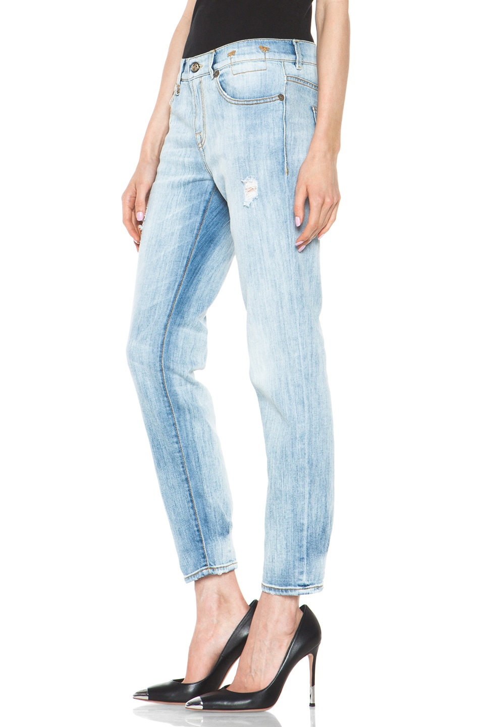 Image 2 of R13 Relaxed Skinny Jean in Faded Torn