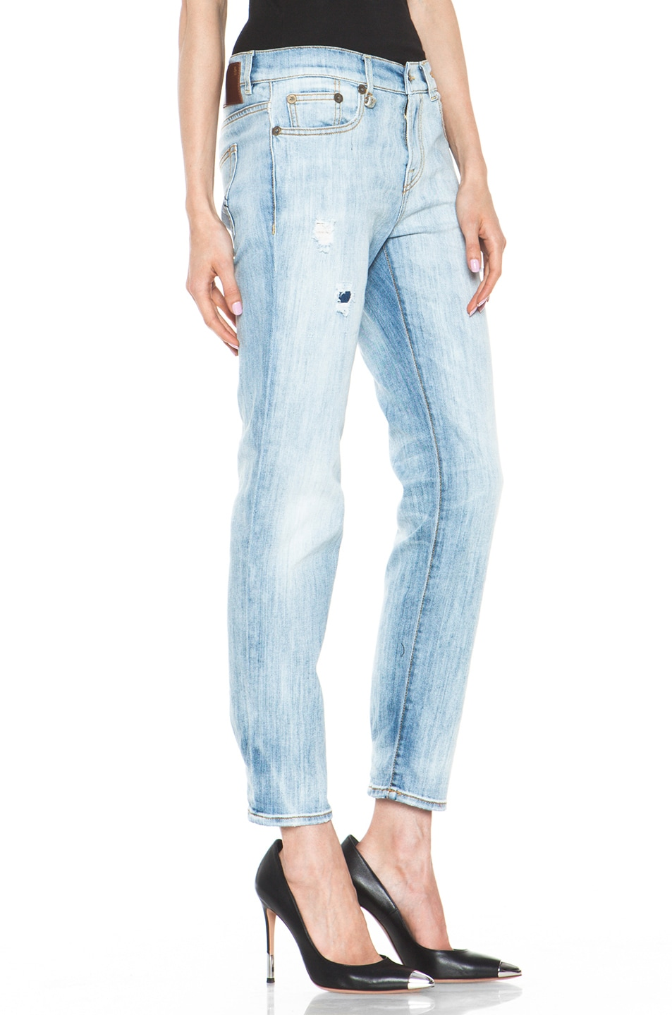 Image 3 of R13 Relaxed Skinny Jean in Faded Torn