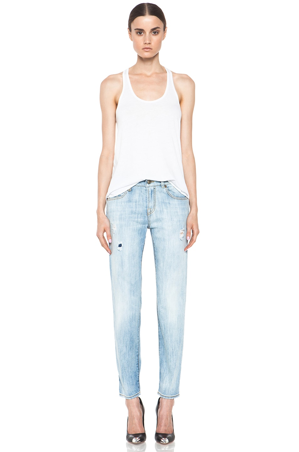 Image 5 of R13 Relaxed Skinny Jean in Faded Torn