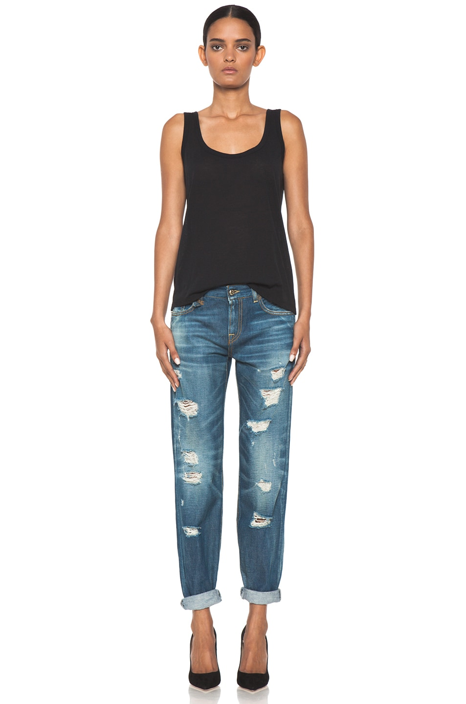 Image 5 of R13 EXCLUSIVE Shredded Medium Jean in Regular Blue Wash