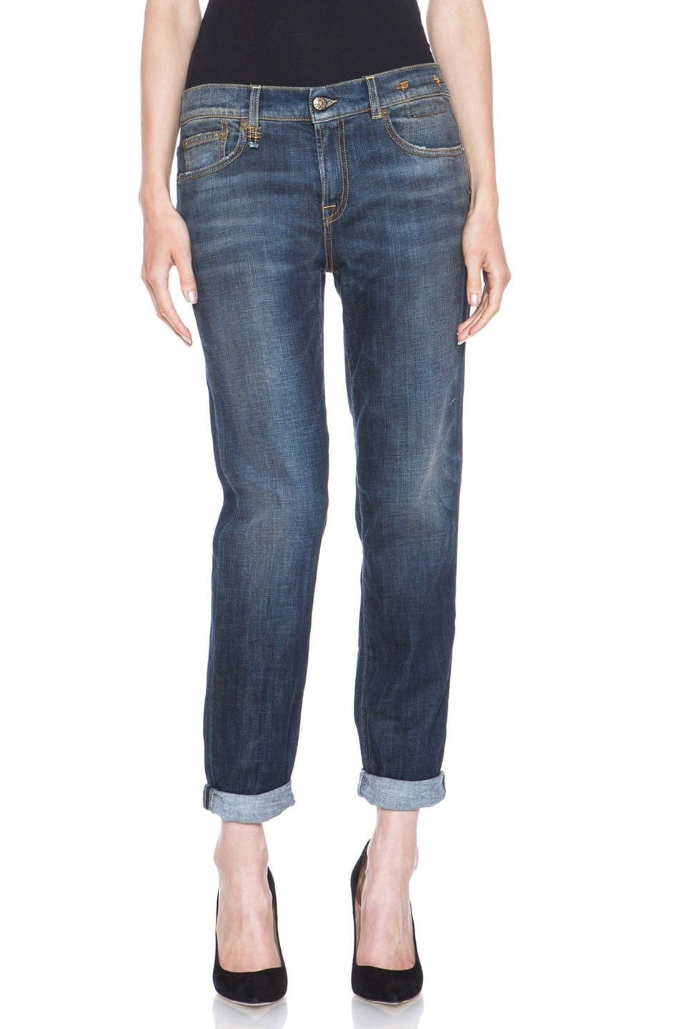 Image 1 of R13 Relaxed Skinny Jean in Dark Blue