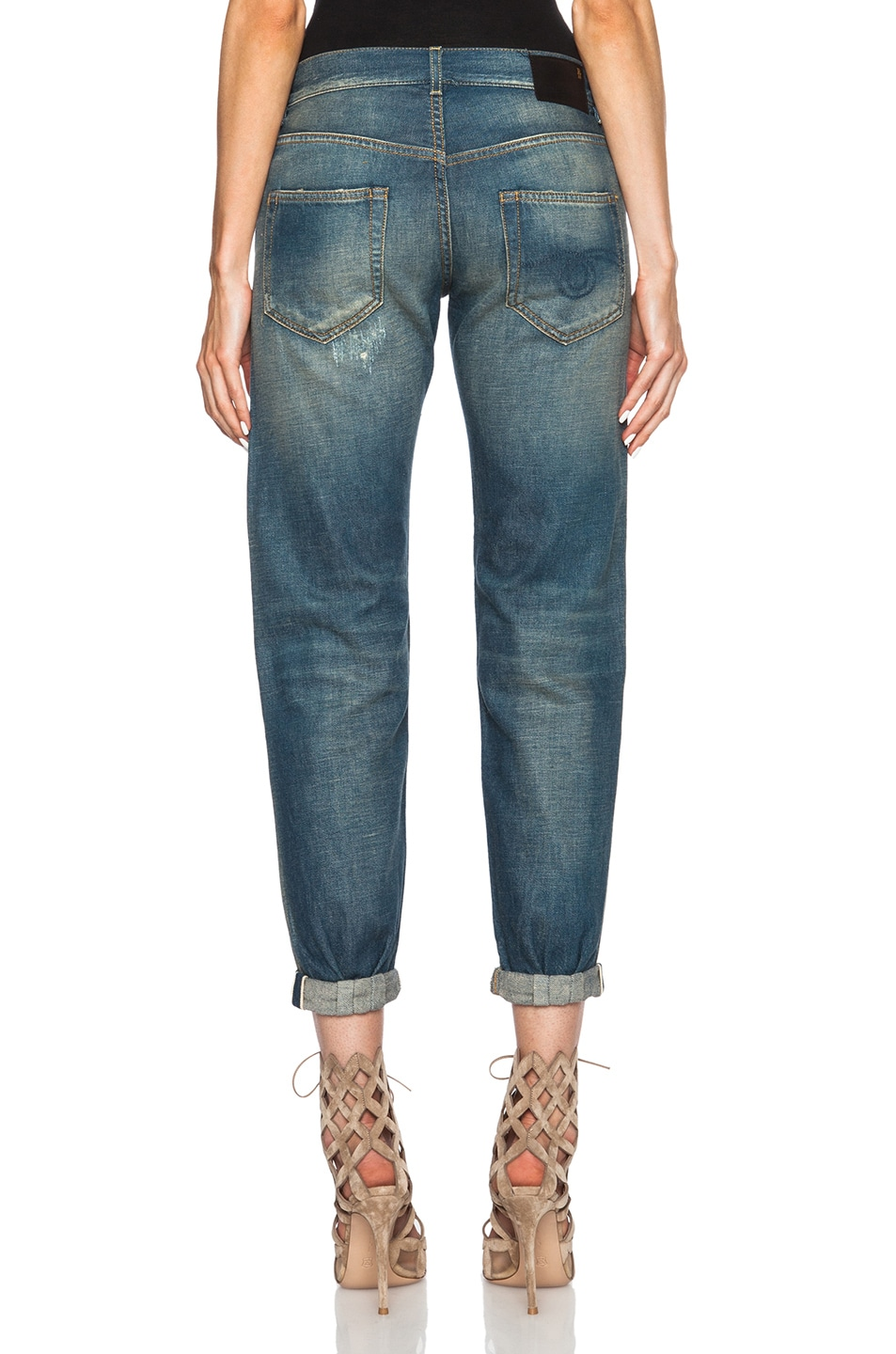 Image 4 of R13 Super Destroyed Relaxed Skinny Jean in Selvage Blue Shredded