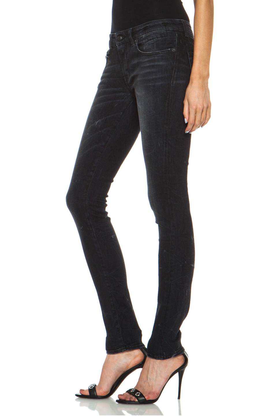 Image 2 of R13 Skinny Jean in Black Marble