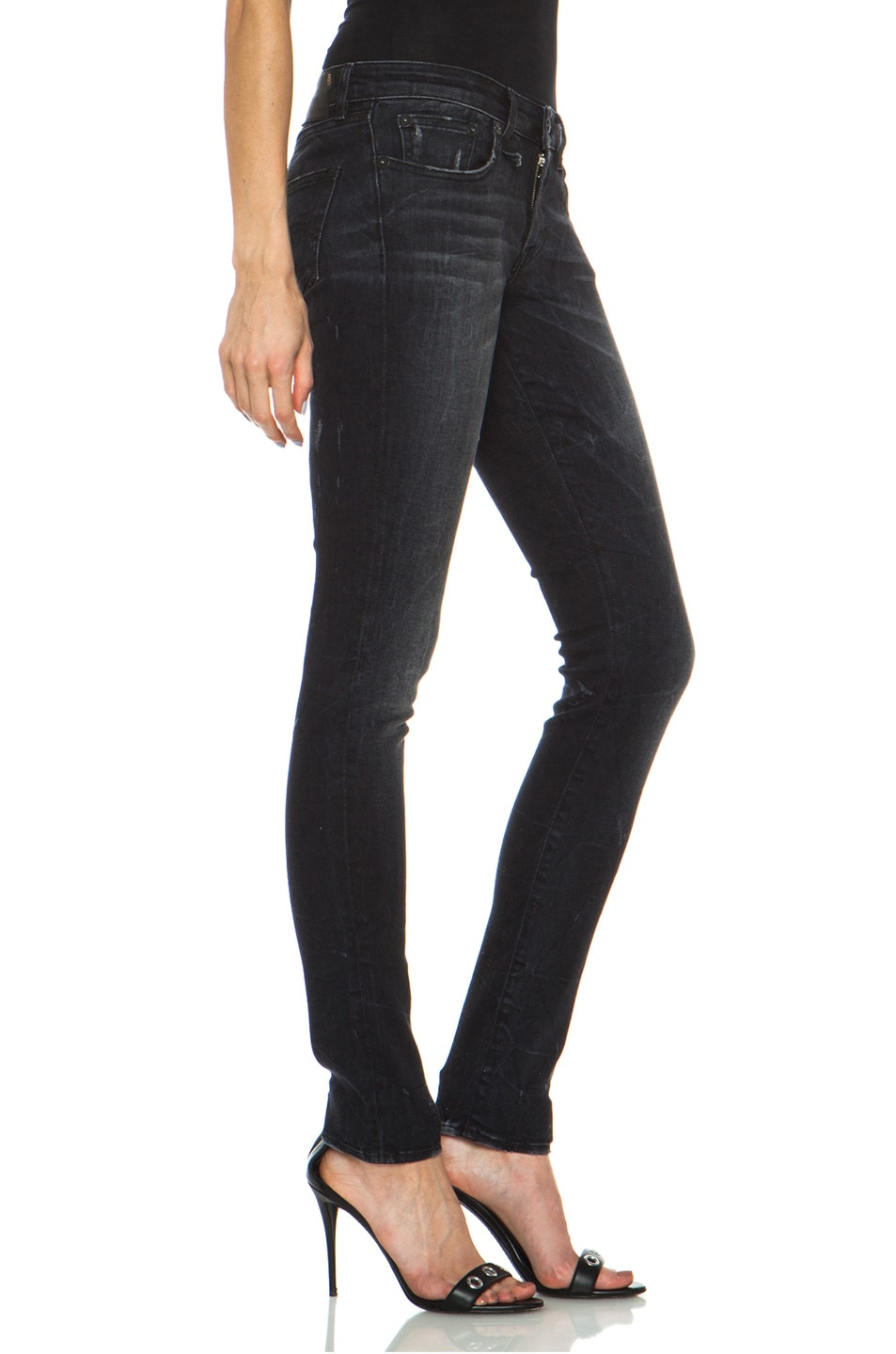 Image 3 of R13 Skinny Jean in Black Marble