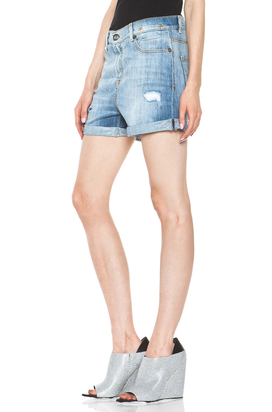 Image 2 of R13 Slouch Cut Off Short in Faded Blue Torn
