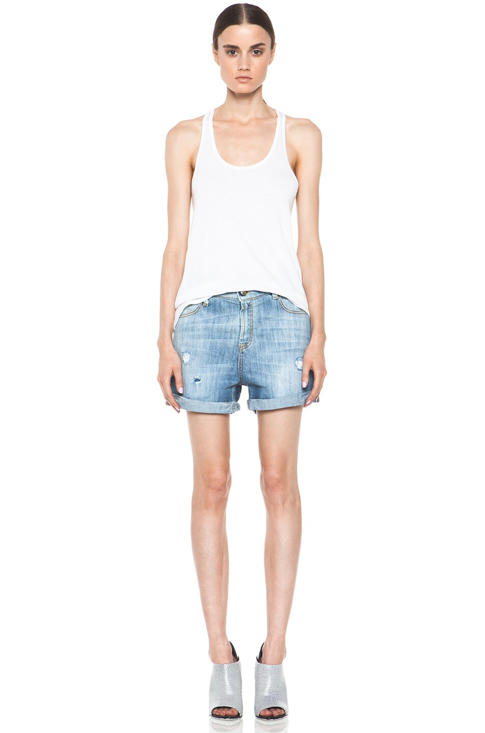 Image 5 of R13 Slouch Cut Off Short in Faded Blue Torn