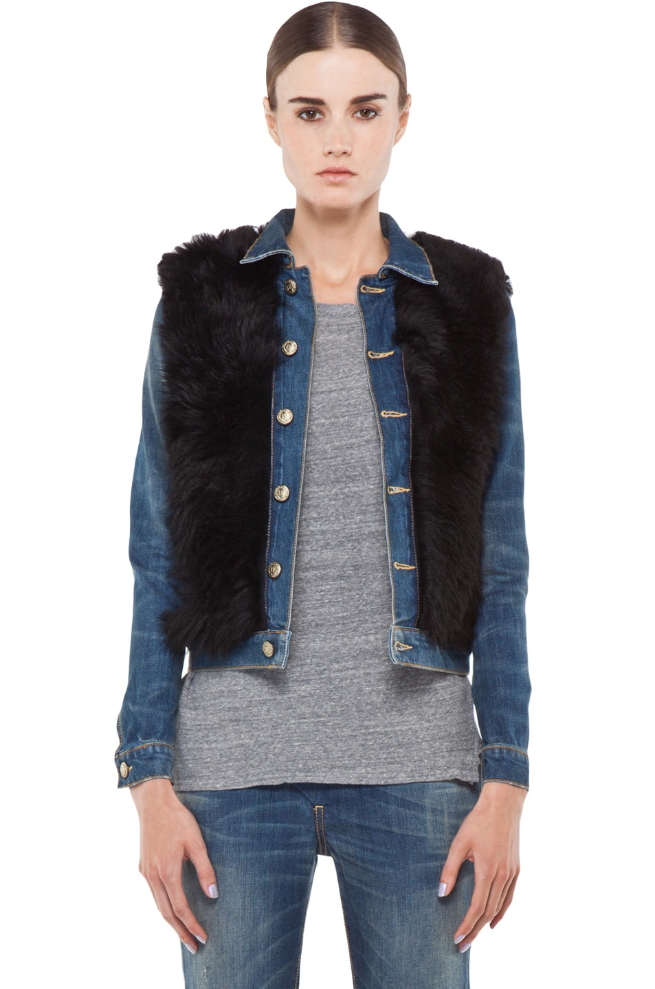 Image 1 of R13 Denim Shearling Jacket in Black