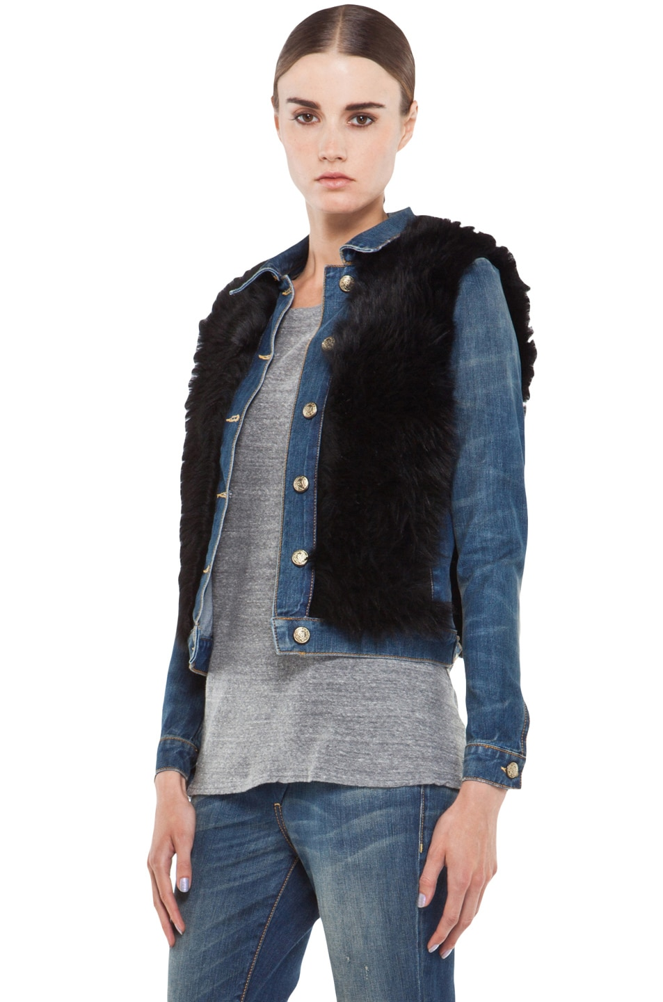 Image 2 of R13 Denim Shearling Jacket in Black