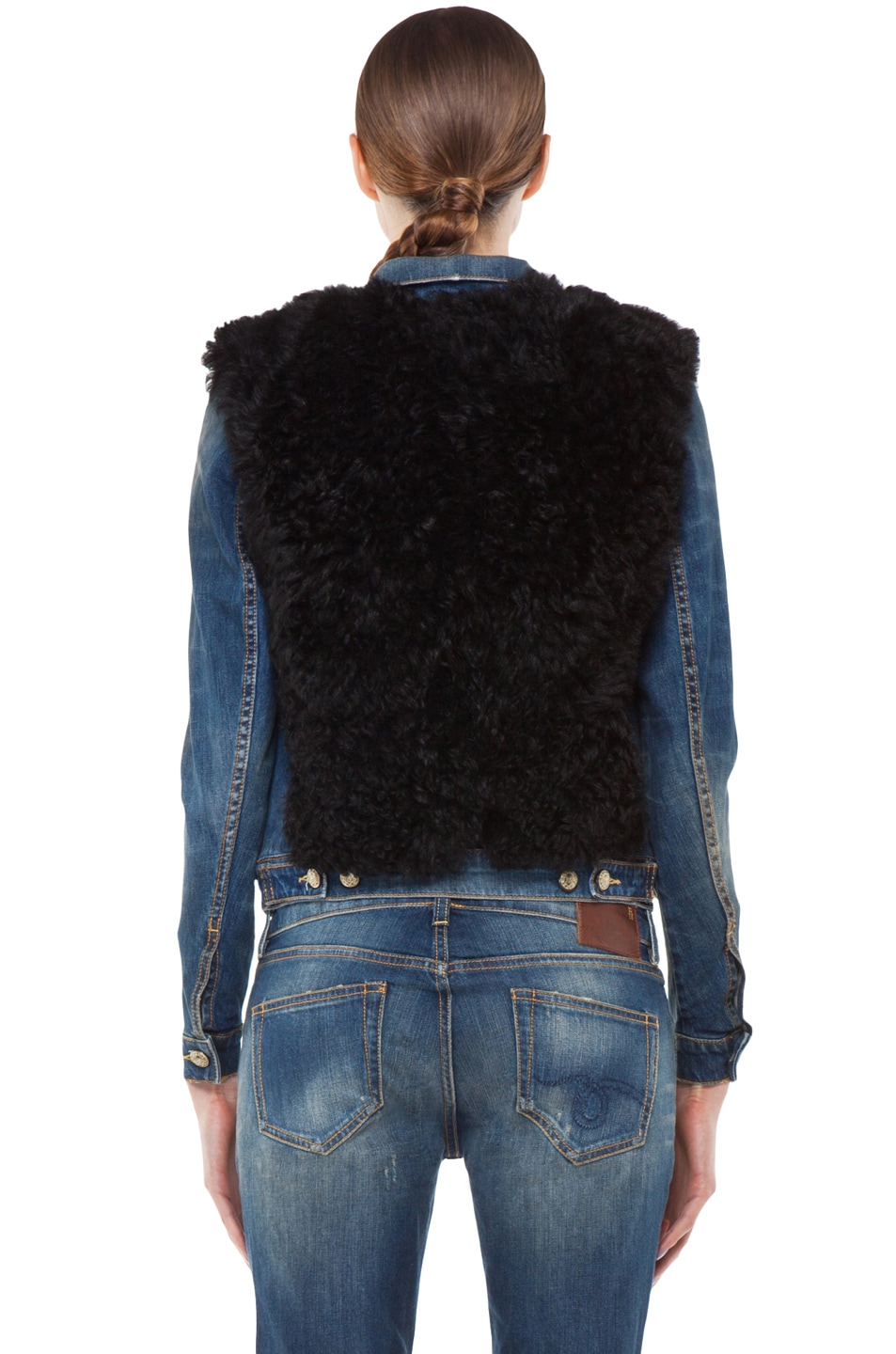 Image 4 of R13 Denim Shearling Jacket in Black