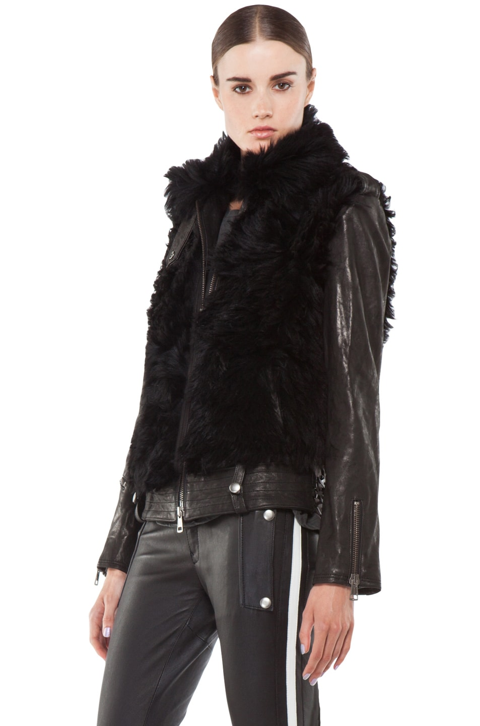 Image 2 of R13 Leather Shearling Bear Jacket in Black
