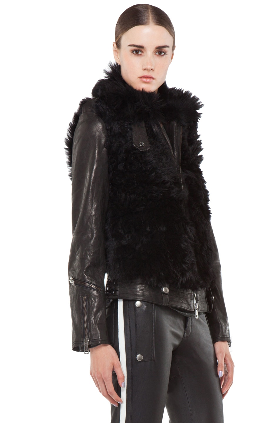 Image 3 of R13 Leather Shearling Bear Jacket in Black