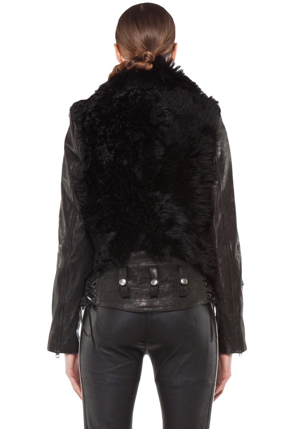 Image 4 of R13 Leather Shearling Bear Jacket in Black