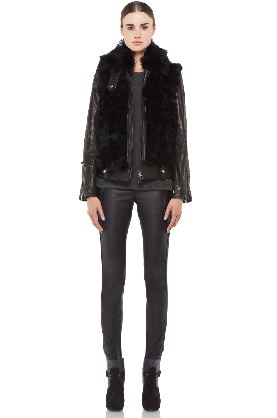 Image 5 of R13 Leather Shearling Bear Jacket in Black