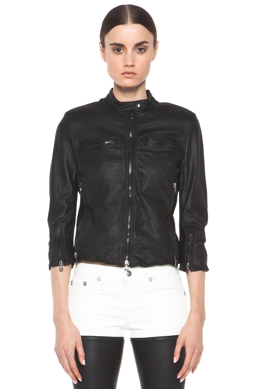 Image 2 of R13 Cafe Leather Racer Jacket in Black