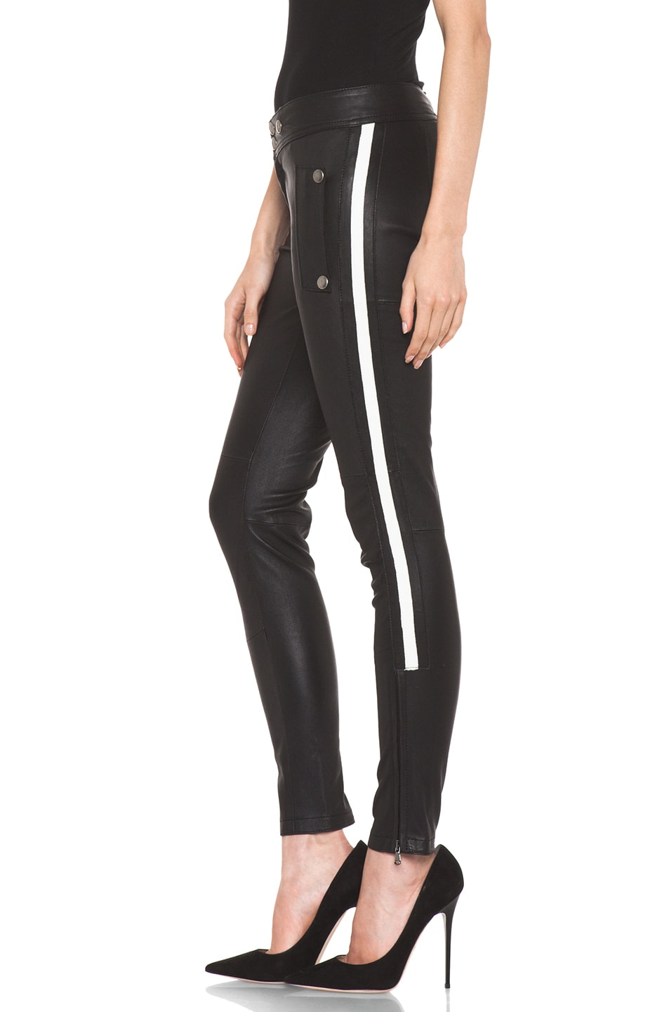 Image 2 of R13 Leather Racing Biker Pant in Black