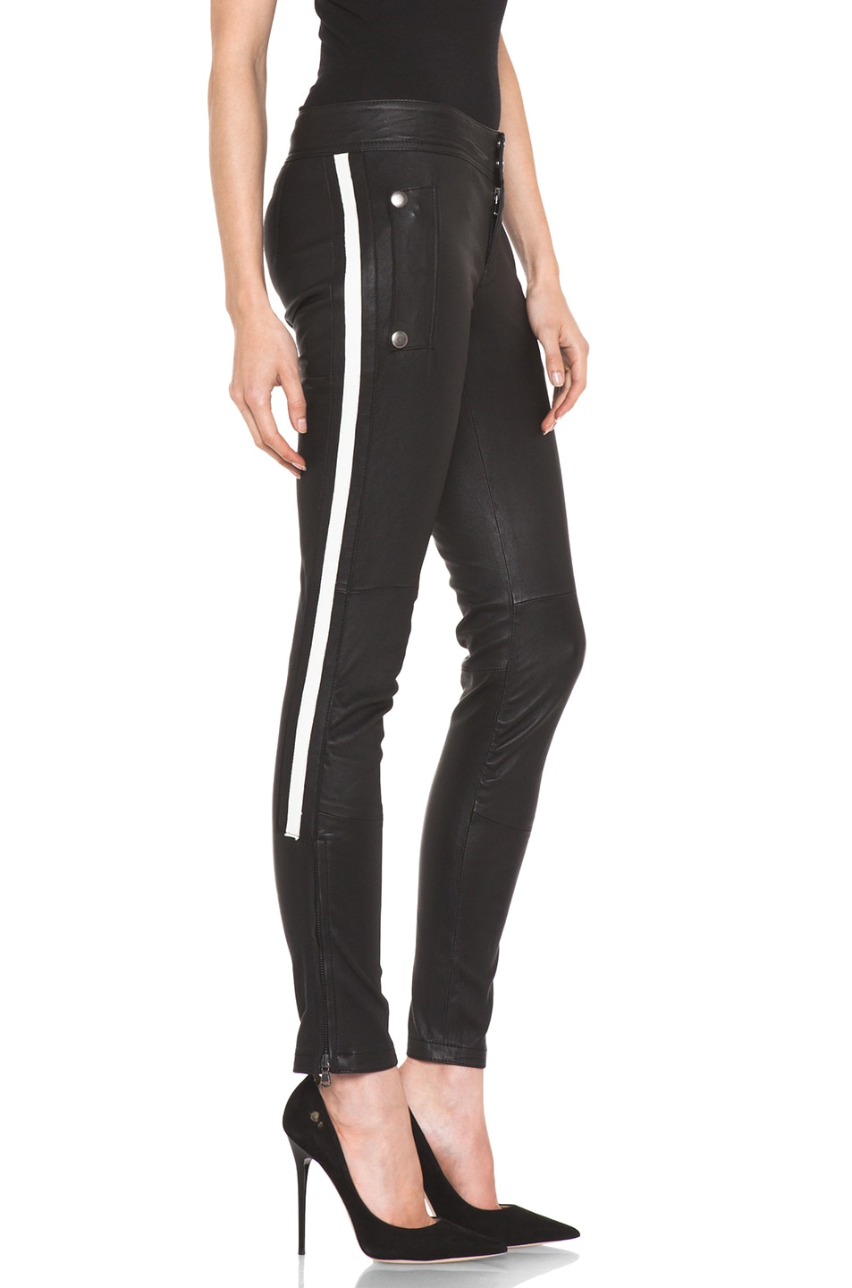 Image 3 of R13 Leather Racing Biker Pant in Black