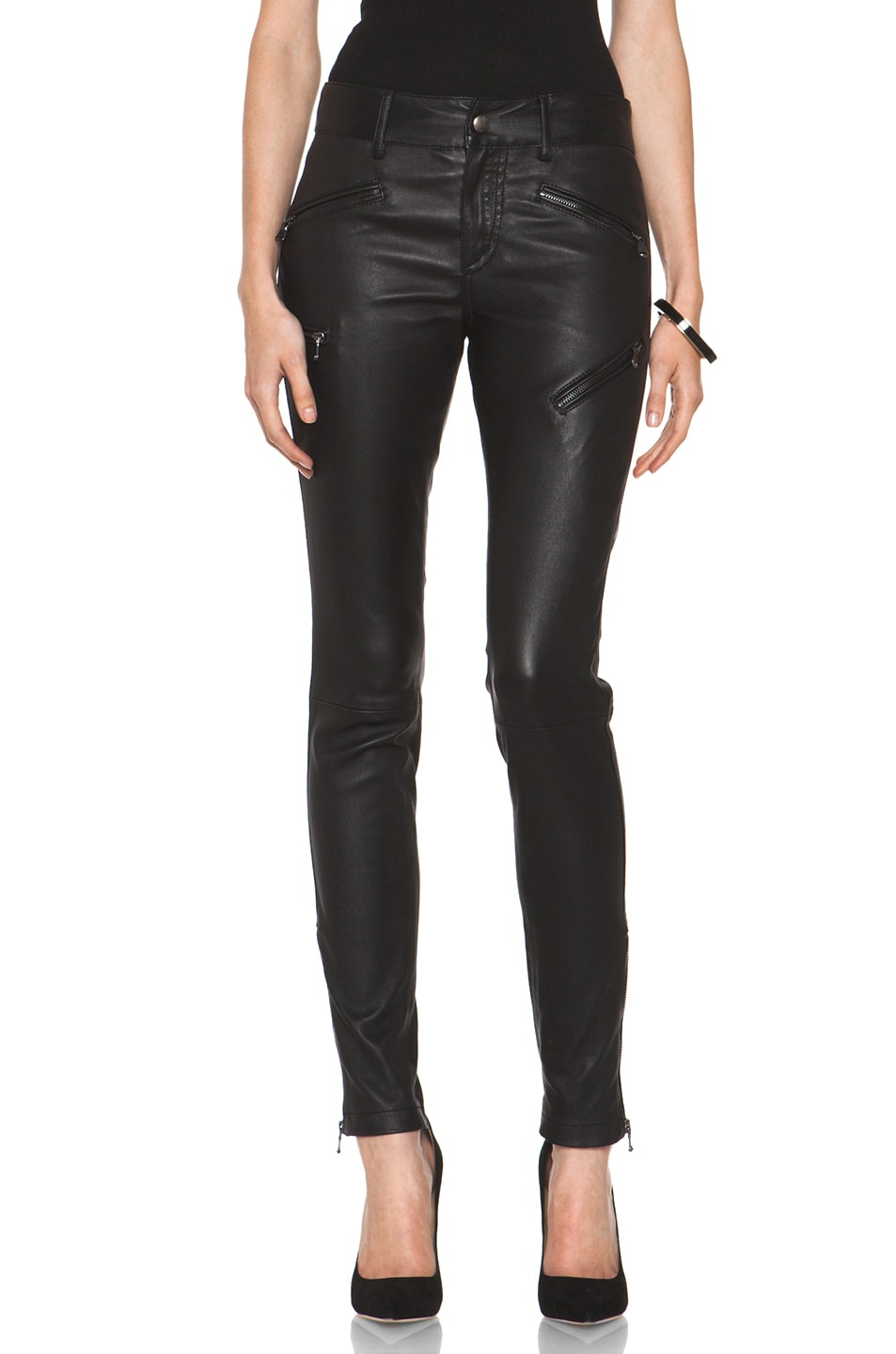 Image 1 of R13 Leather Biker Zip Pant in Black