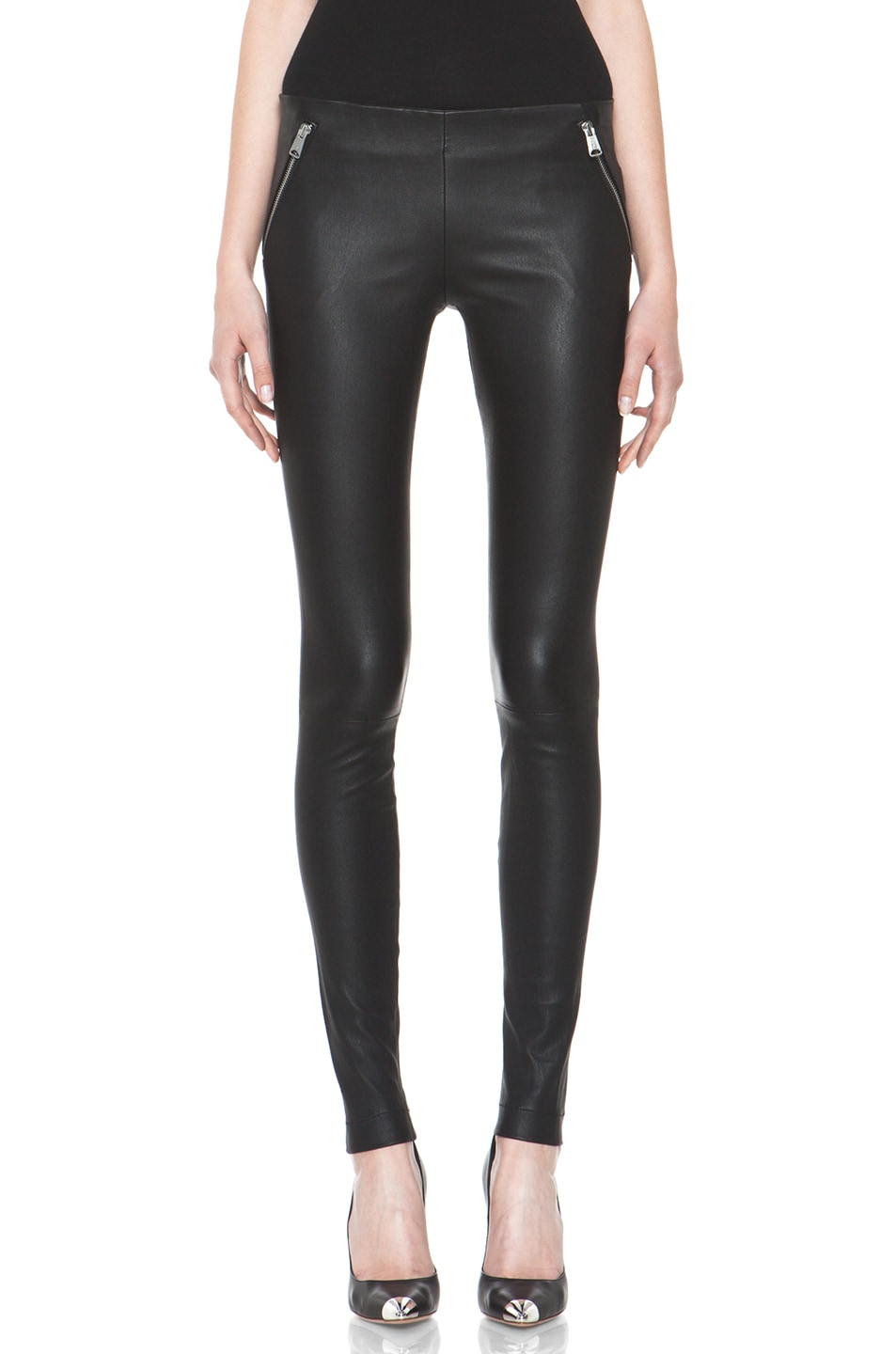 Image 1 of R13 Zip Pull On Leather Legging in Black